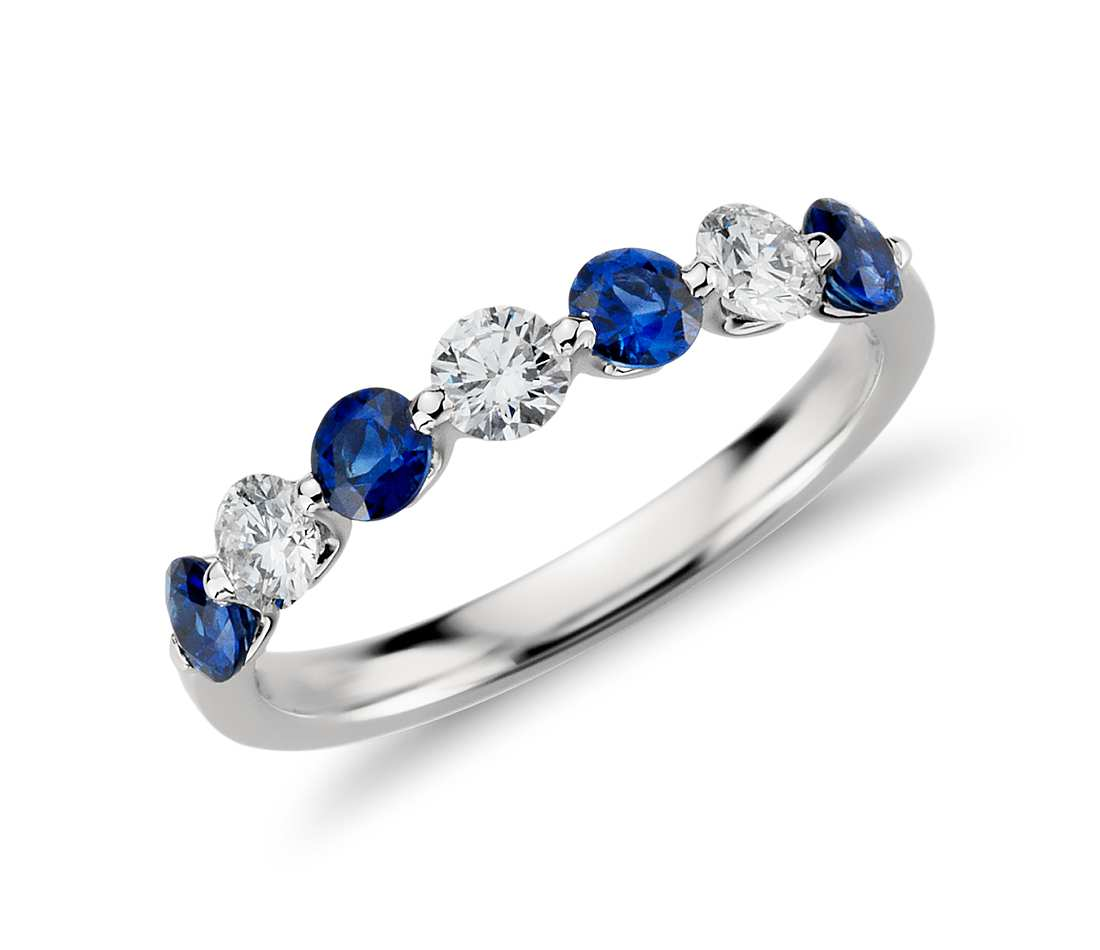 Floating Sapphire and Diamond Ring in 18K White Gold Tanary Jewelry