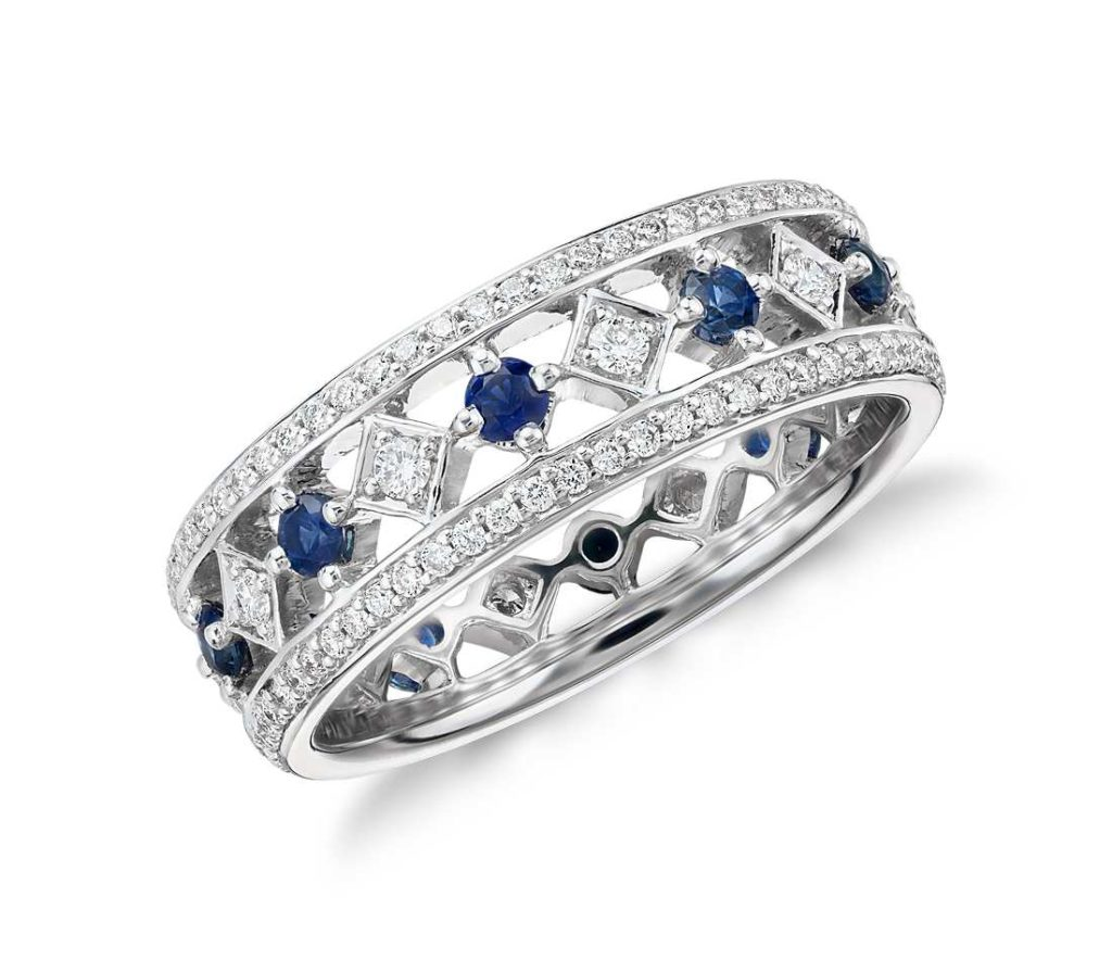 Sapphire and Diamond Eternity Ring in 18k White Gold Tanary Jewelry