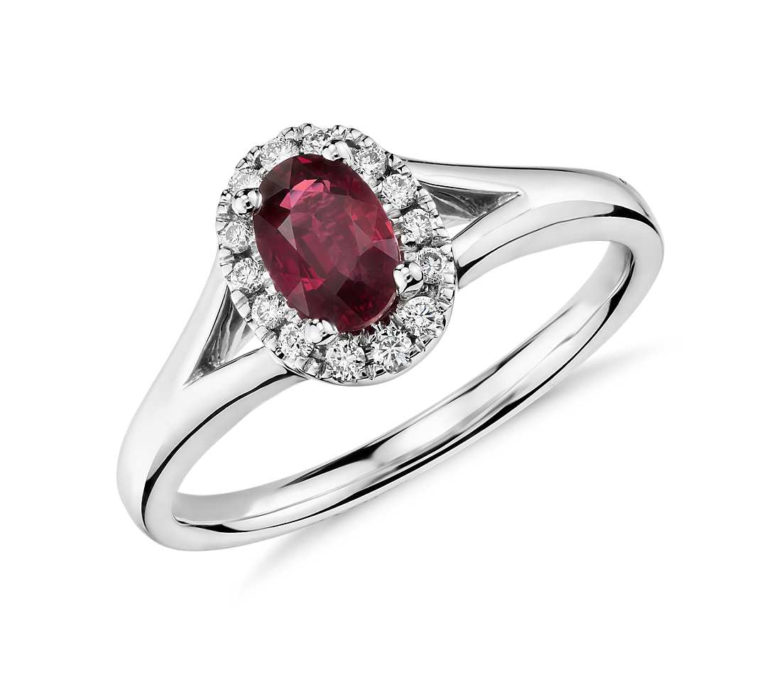 oval ruby and diamond halo ring in 18k white gold tanary jewelry. Black Bedroom Furniture Sets. Home Design Ideas