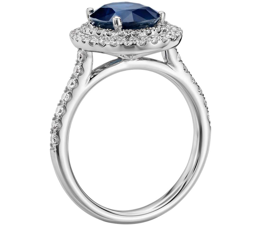Oval Sapphire And Diamond Double Halo Micropave Ring