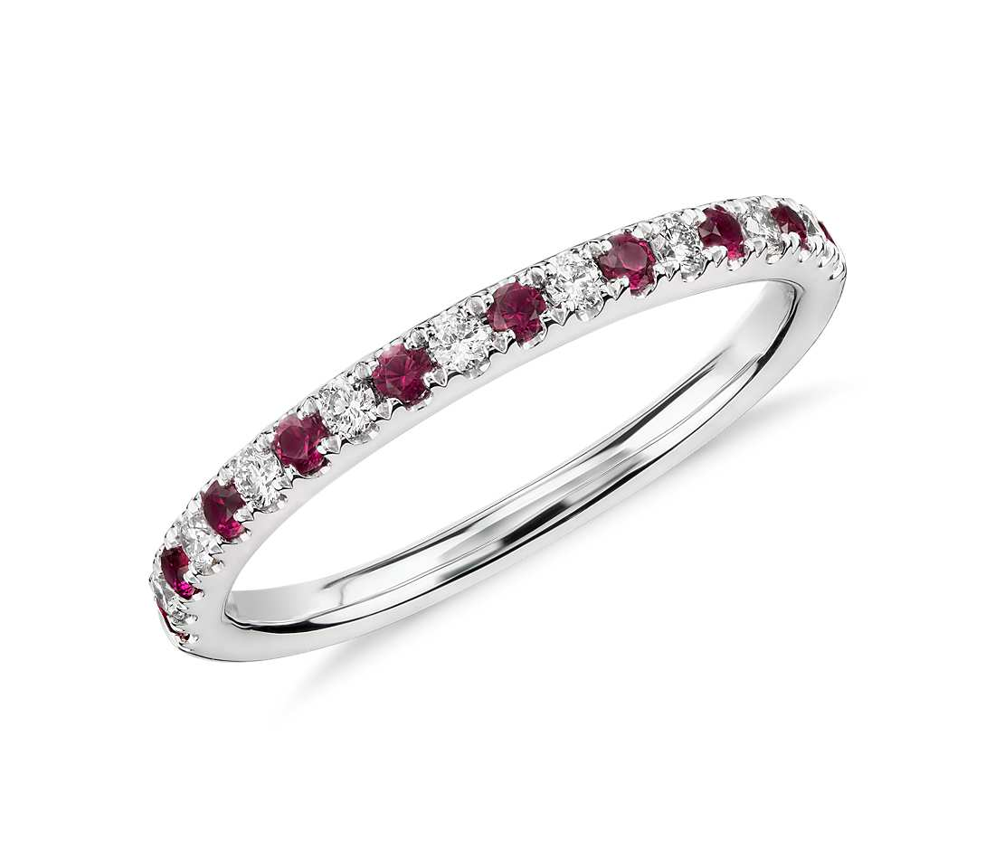 Ruby And Diamond Ring In 18k White Gold Tanary Jewelry