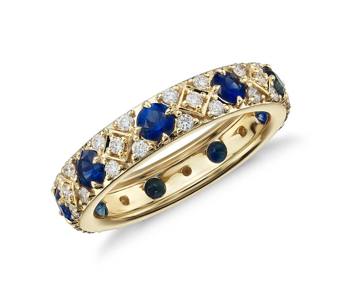 Sapphire and diamond eternity ring in 18k yellow gold for Sapphire wedding ring