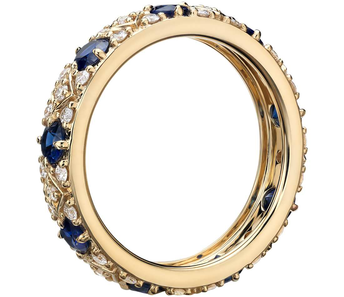 sapphire and diamond eternity ring in 18k yellow gold. Black Bedroom Furniture Sets. Home Design Ideas