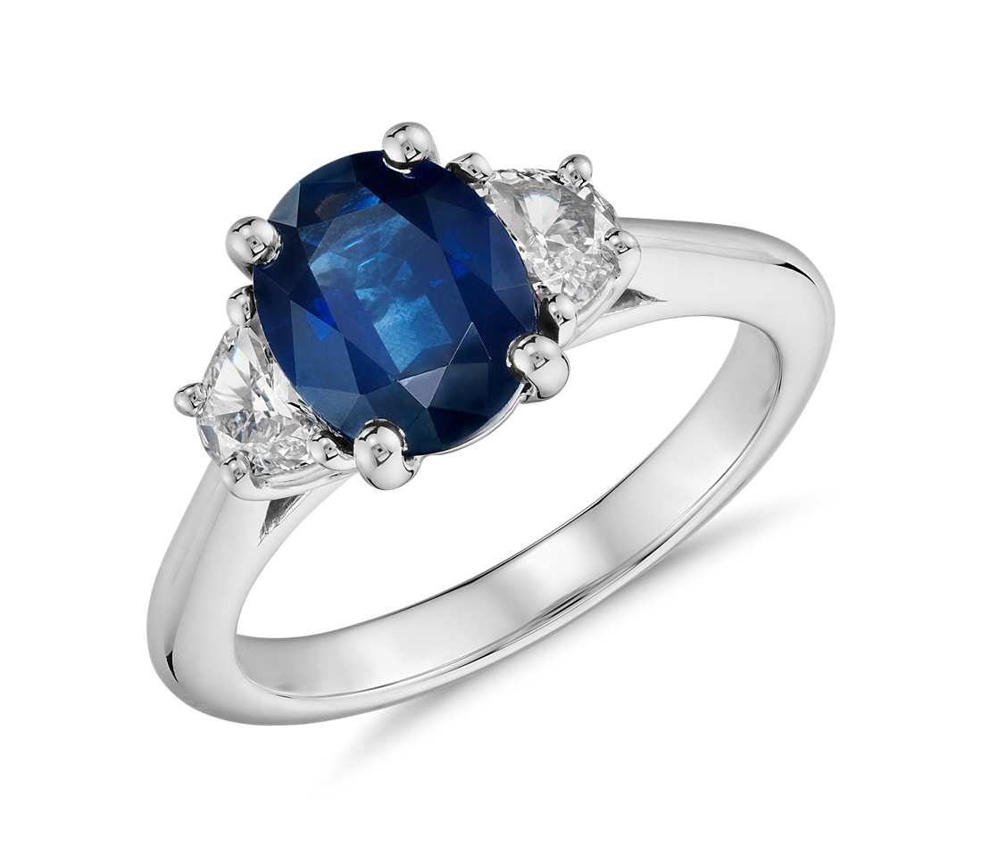 set engagement product channel blue diamond and sapphire cathedral ring