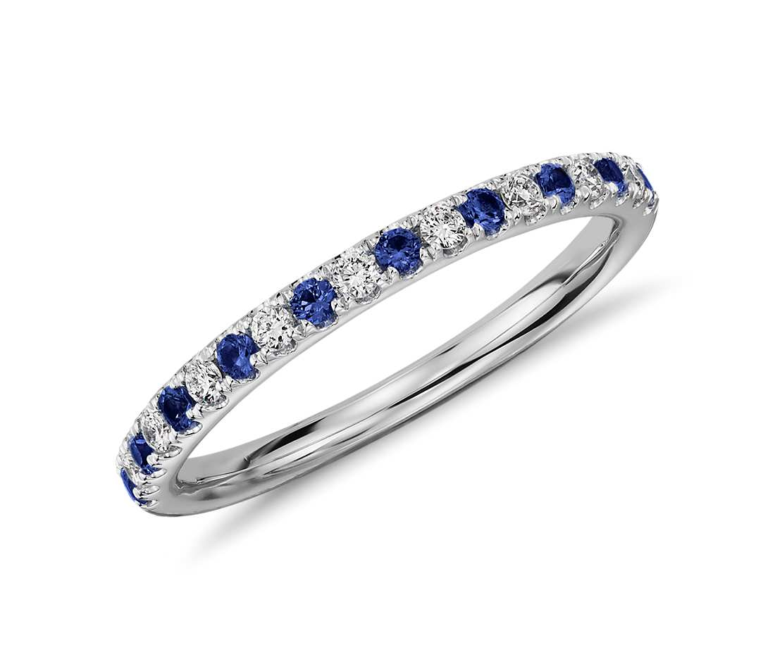 Pavu00e9 Sapphire And Diamond Ring In 18K White Gold - Tanary Jewelry