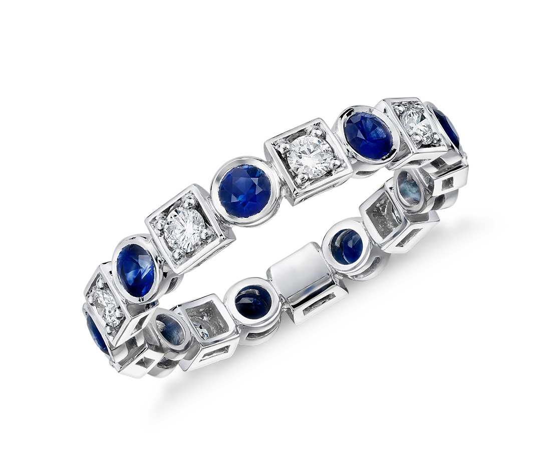 pave eternity diamond halo side band custom sapphire