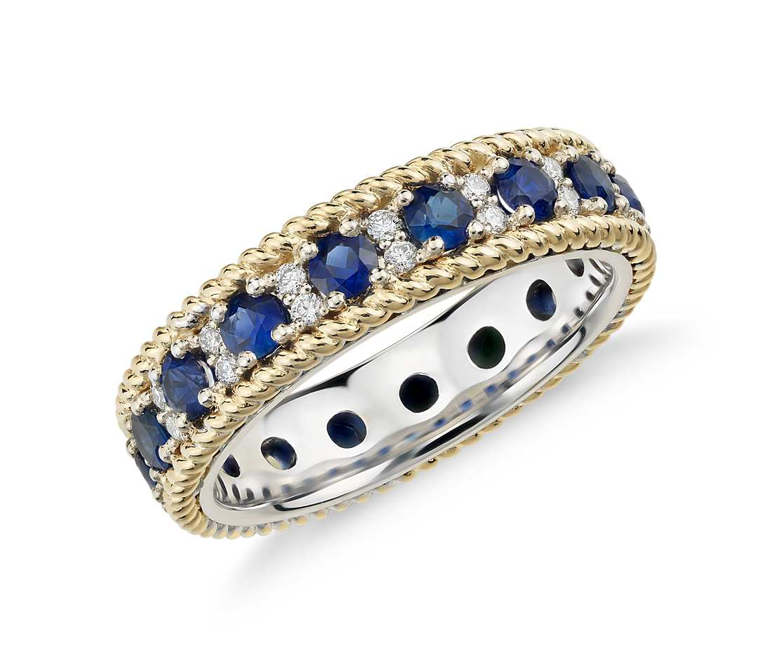 blue sapphire diamonds yellow with in created gold ring